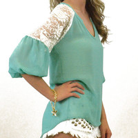 Goddess Green Sheer Lace Top