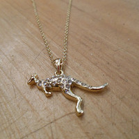 Gold Rhinestone Kangaroo Necklace | Candy's Cottage