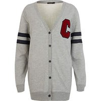Grey C sleeve stripe varsity cardigan