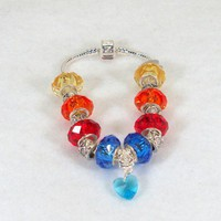 Multi Color Crystal Faceted Pandora Style Bracelet #929 | HCLTreasures - Jewelry on ArtFire