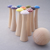 Mushroom Bowling  Wonderland  Wood Toy Bowling Game by MuddyFeet