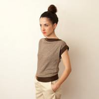 80s brown geometric cut tshirt unworn vintage by blessthatdress