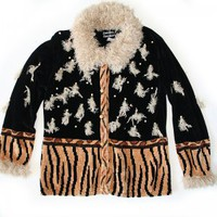 Shaggy Collar & Tassels Tacky Ugly Cardigan Sweater Women's Size Large (L)