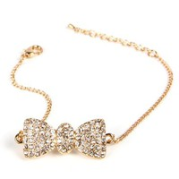 Gold/Crystal Rhinestone Bow Bracelet