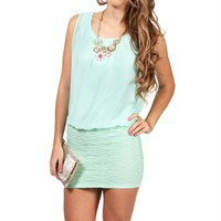 Mint CrochetChiffon Dress