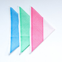 Vintage handkerchief set - tricolor polka dots