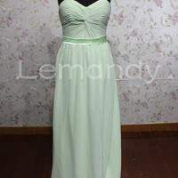 simple sage strapless sweetheat A line chiffon evening dress
