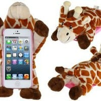 Amazon.com: FUDE® PC Plastic & Plush Rotary 3D Plush Giraffe Protective Case for iPhone 5: Cell Phones & Accessories