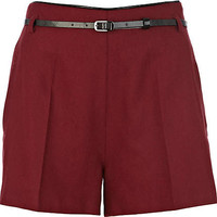 Dark red belted shorts - shorts - sale - women