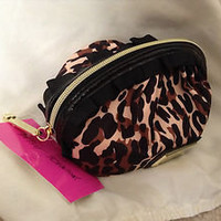 Betsey Johnson Leopard Print Cosmetic Makeup Clutch