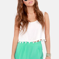 Scallop Poll Scalloped Mint Green Shorts