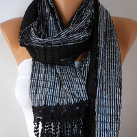Black Silvery  Scarf  -   Cowl with Lace Edge