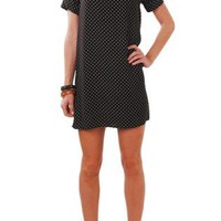 Polka Dot Shift Dress with Short Sleeves