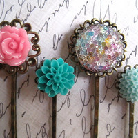 Resin Cabochon Kit with Antique Filigree Bobby Pin by ohwhatfunatl