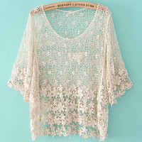 Romantic moments  fashion Crochet hollow shirt