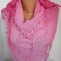 Pink  Shawl Scarf Cowl Scarf Women Scarves Lace Scarf -  Pink Tones - fatwoman