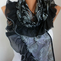 Black Shawl  Scarf  -  Cowl Scarf Lace Scarf  fatwoman bridesmaid gifts