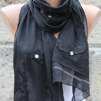 Black - Shawl Scarf -  Cowl