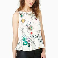 Jeweled Peplum Top