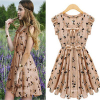 Temptation  your eyes — Chiffon Movement printing dress