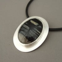 Black and Grey Picasso Marble Sterling Silver Handcrafted Pendant | The Silver Forge Handcrafted Jewellery