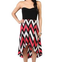 strapless casual dress with high low chevron print skirt - 1000047429 - debshops.com