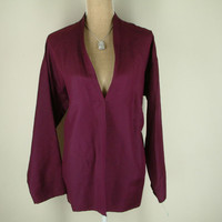 Eileen Fisher Light Weight Jacket silk wool blend dark plum purple L LARGE