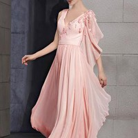 Stunning Pink Detailed Formal or Evening Dress from MDress
