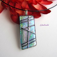 Tempo in Teal Blue Dichroic Fused Glass Jewelry Pendant One-of-a-Kind