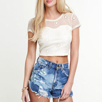 Kirra Daisy Mesh Crop Top at PacSun.com
