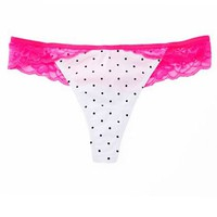 Lace Trim Polka Dot Thong: Charlotte Russe