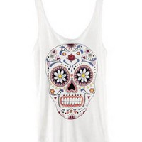 Flower Skull Shirt Sleeveless Tank