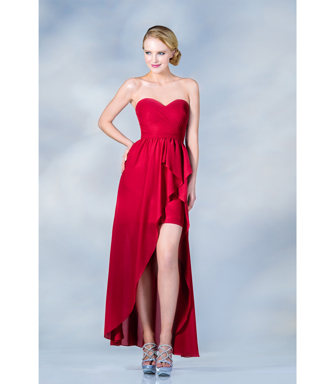 2013 Prom Dresses Red High Low Strapless From Unique Vintage