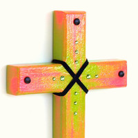 Handpainted Wood Wall Cross Neon Lime Green and Hot by rrizzart