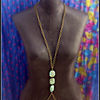brass and turquoise chain vest turquoise necklace by alapopjewelry