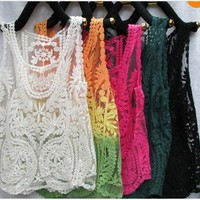 coolstyle  Sleeveless crochet vest gauze embroidery crochet vest bud silk blouse
