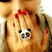 MELO YUMI SHOP QUIRKY KITSCH PANDA HEAD MADE WITH QUALITY CRYSTAL JEWELLERY RING
