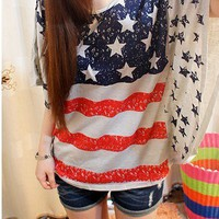 Vintage Bat Sleeve American Flag Shirt