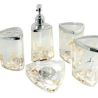 Decorative Seashells Ocean Beach Acrylic Bathroom Accessory Set: Home &amp; Kitchen