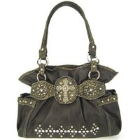 Amazon.com: Western Style Rhinestone Cross Faux Leather Handbag Purse (black): Clothing
