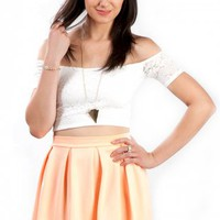 Neon Peach Skater Skirt