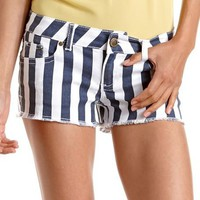 Hot Kiss Frayed Stripe Denim Short: Charlotte Russe