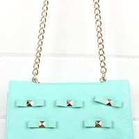 21012 Mint Studded Bow Cross Body and Shop Handbags at MakeMeChic.com