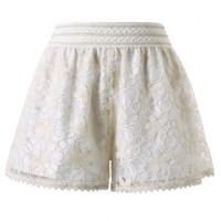 Lace Floral Crochet Short in Cream White
