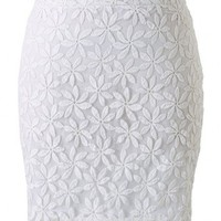 Floral Embroidery High Waist Bud Skirt