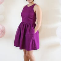 Bold Violet Dress- Colorful Sleeveless Racerback Party Dress in Bright Plum Purple