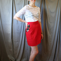Bright Red Pencil- Red Skirt with Black Floral Pockets