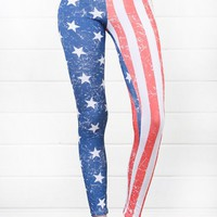 Red Blue Patriotic American Flag Leggings and Shop Leggings at MakeMeChic.com