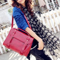 Leisure Womens Solid Handbag Shoulder Bag Retro Messenger Satchel Buckles Br