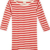 Edith A. Miller Red & Natural Boatneck 3/4 Tee